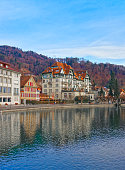 Houses on the Embankment in Old Town of Thun