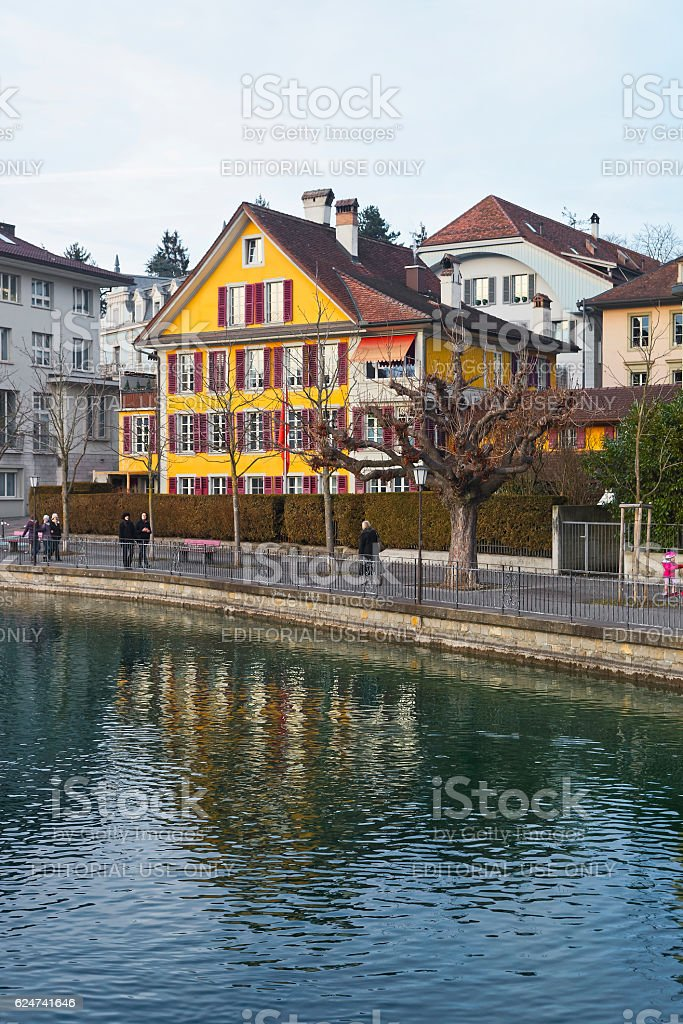 Houses on the Embankment in the Old City of Thun stock photo
