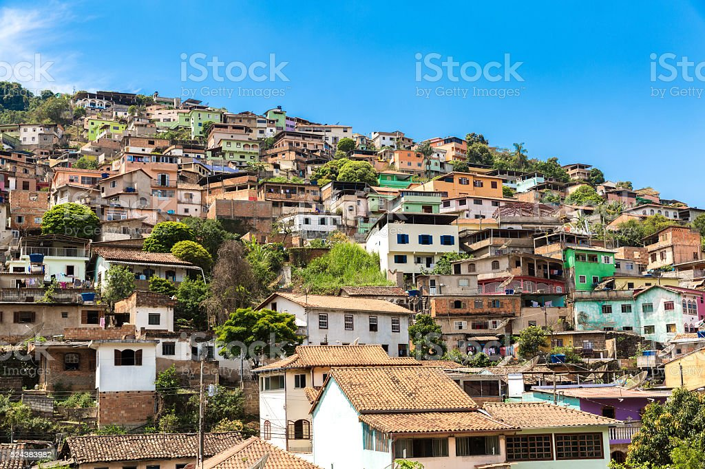 Houses on the hill in Brazil stock photo