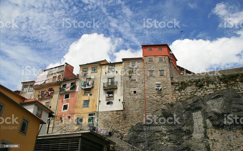 Houses on the hill stock photo