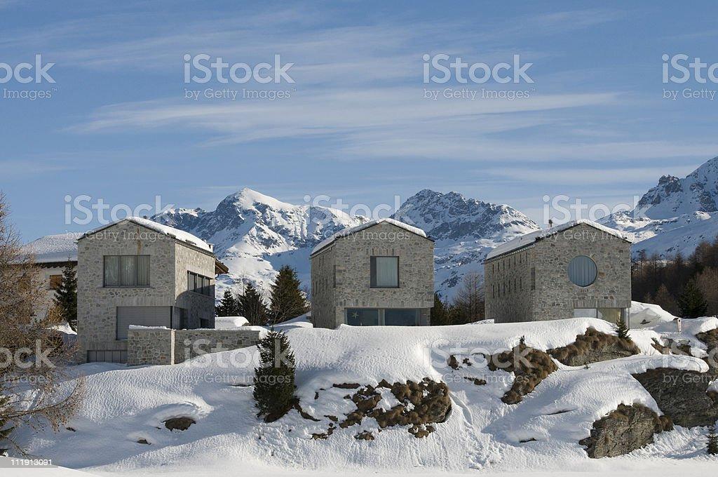 Houses on the mountain stock photo