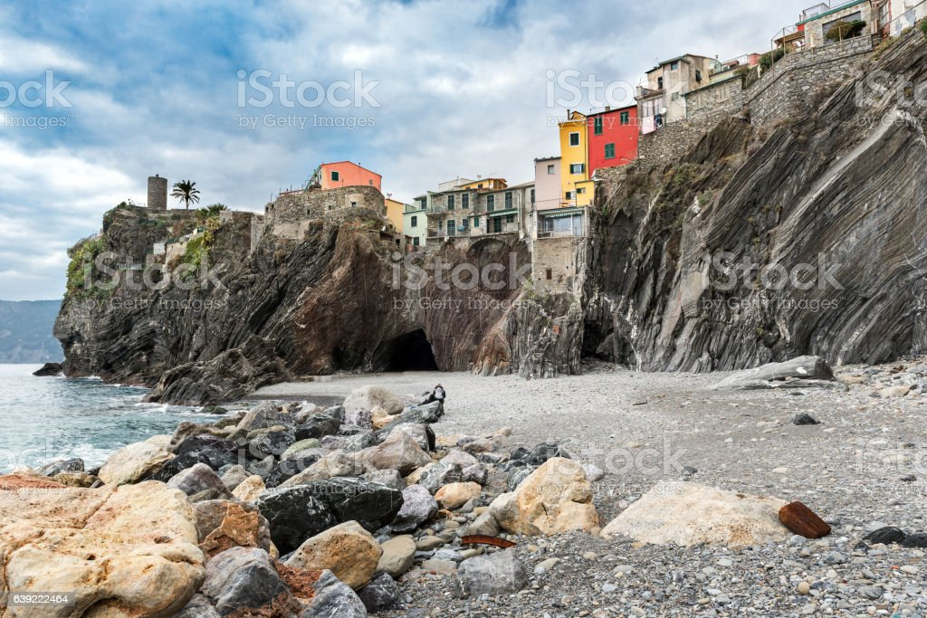 Houses on the rocks in Vernazza town, Italy stock photo
