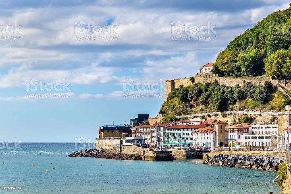 Houses on the seaside of San Sebastian - Spain stock photo
