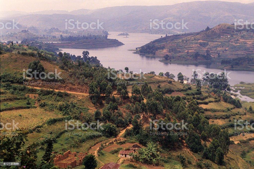Houses on the terraced fields near Lake Bunyonyi at Kabale stock photo