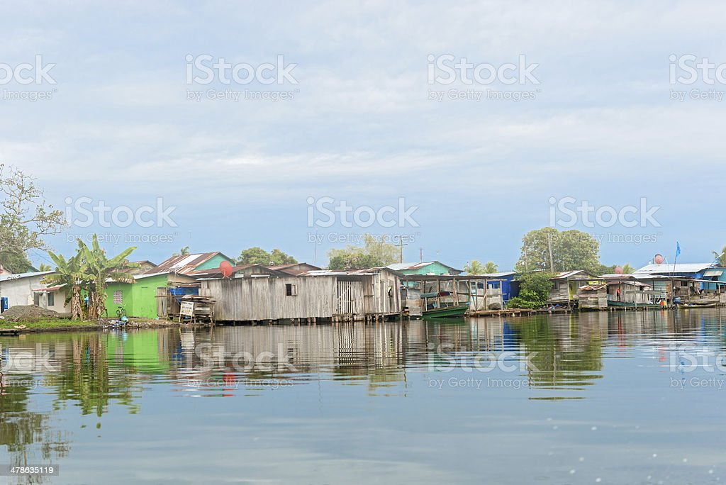 Houses on the water in Almirante, Panama stock photo