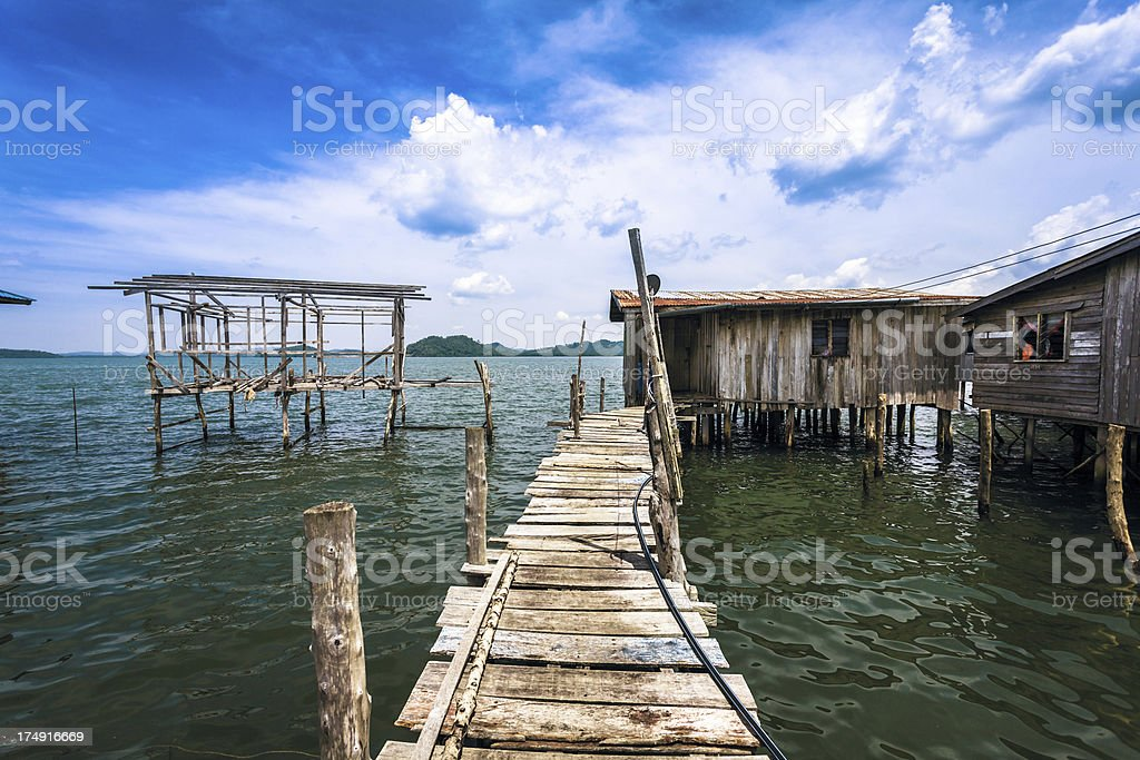 Houses on the Water in Malaysia, Borneo Island stock photo