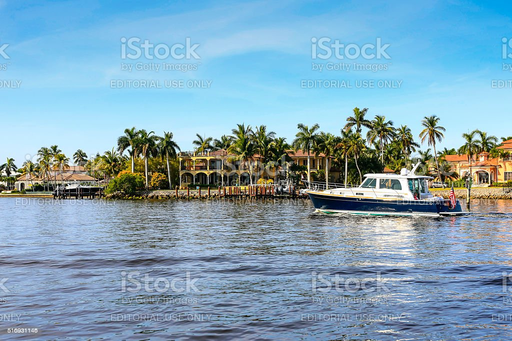 Houses on the waterfront overlooking Naples Bay, Florida stock photo