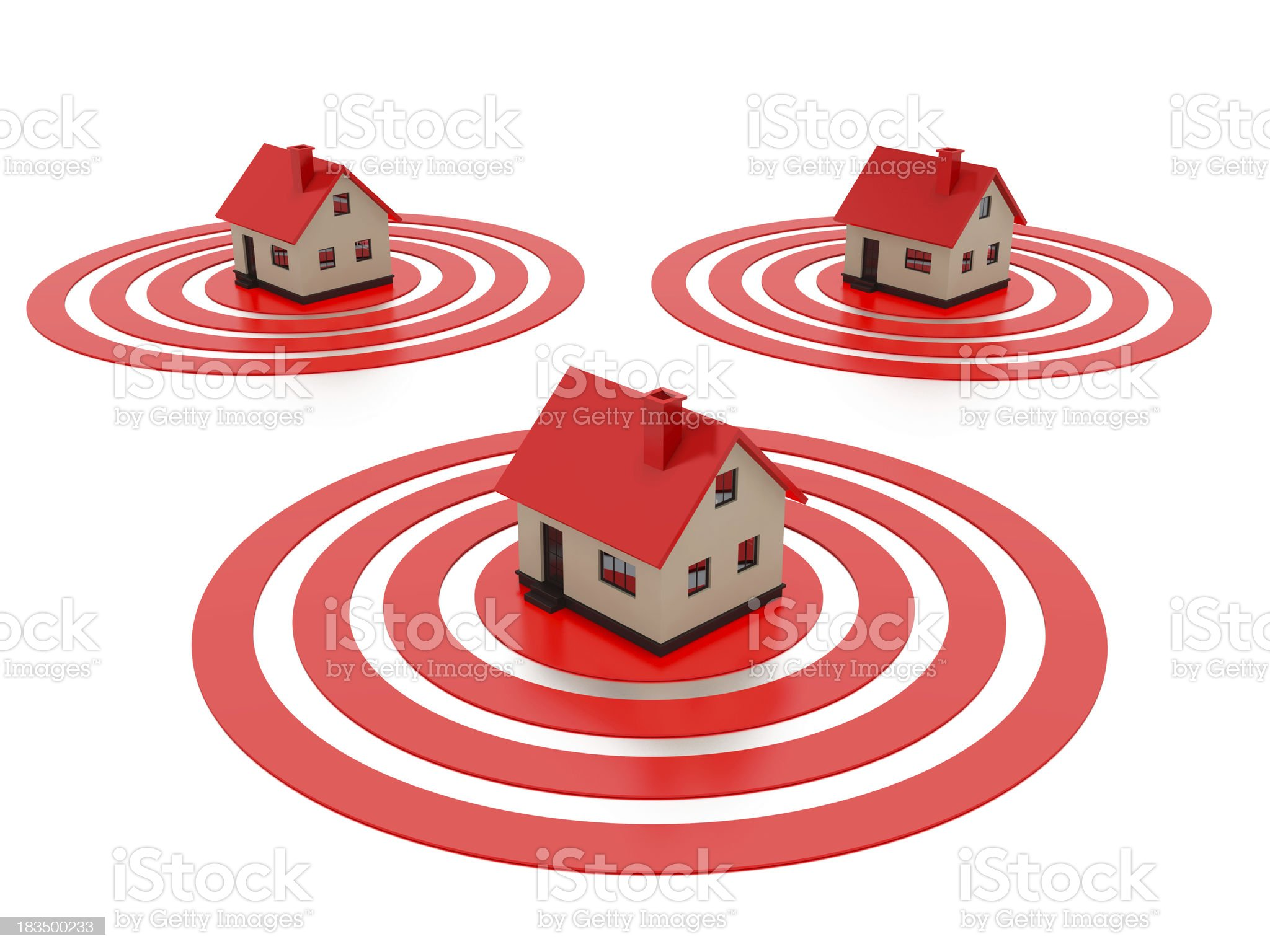 Houses on top of a target. royalty-free stock photo