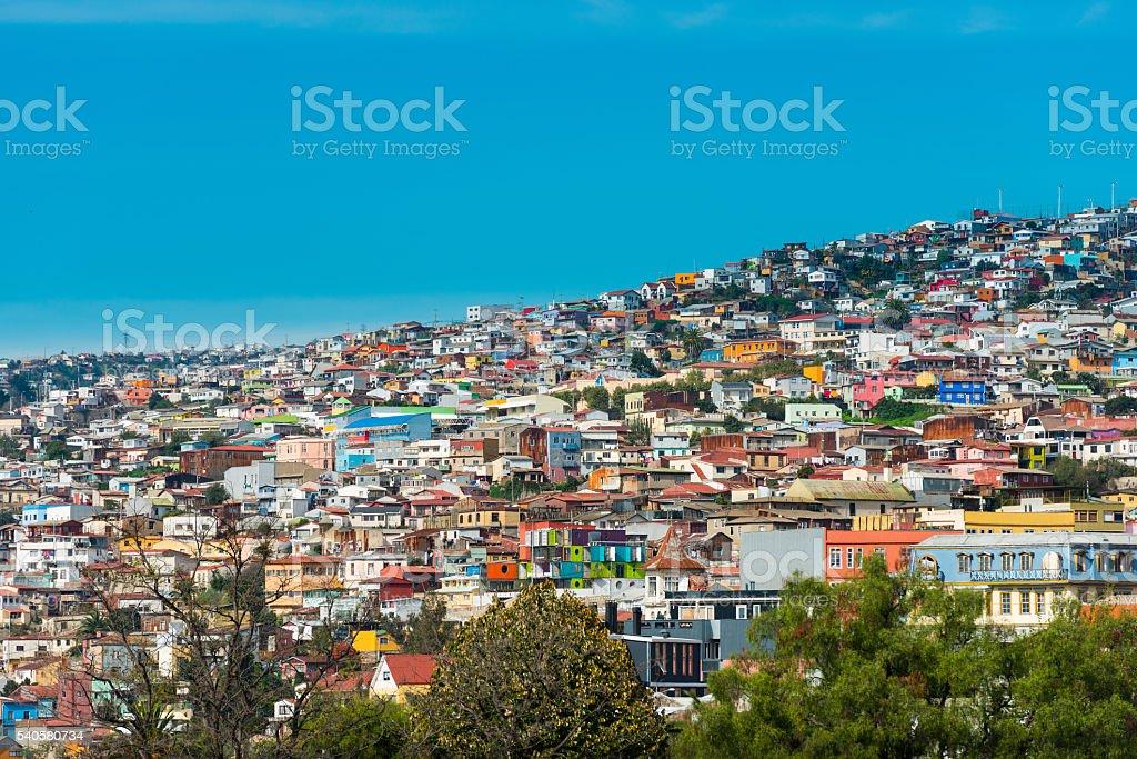 Houses on Valparaiso stock photo