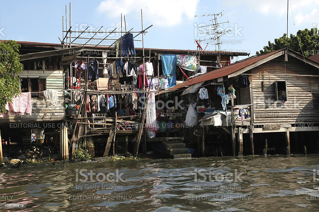 Houses on waterfloood at Bangkok Thailand stock photo