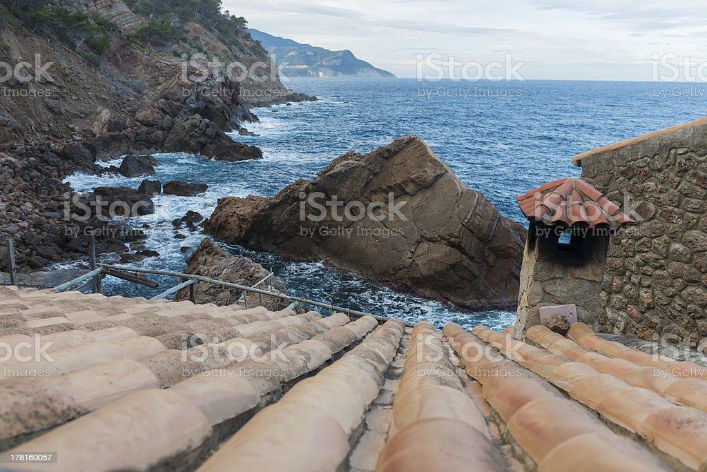 Houses over Mediterranean Sea royalty-free stock photo