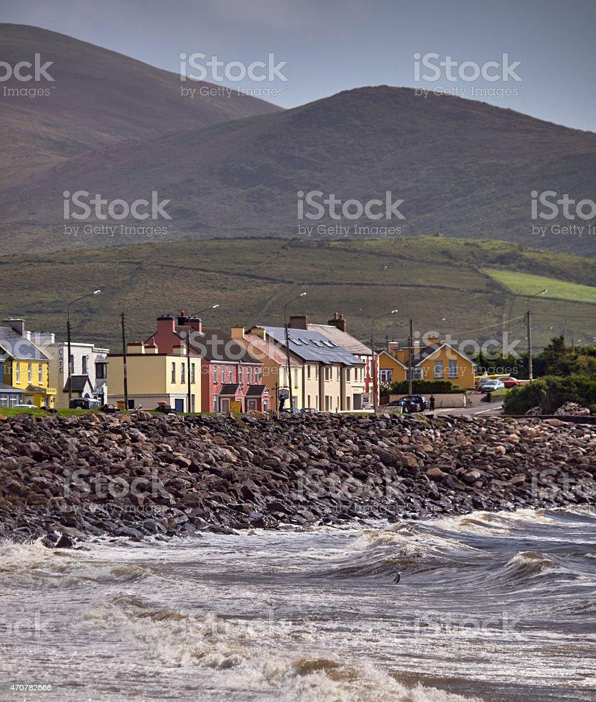 Houses overlooking the sea at the Irish West coast stock photo