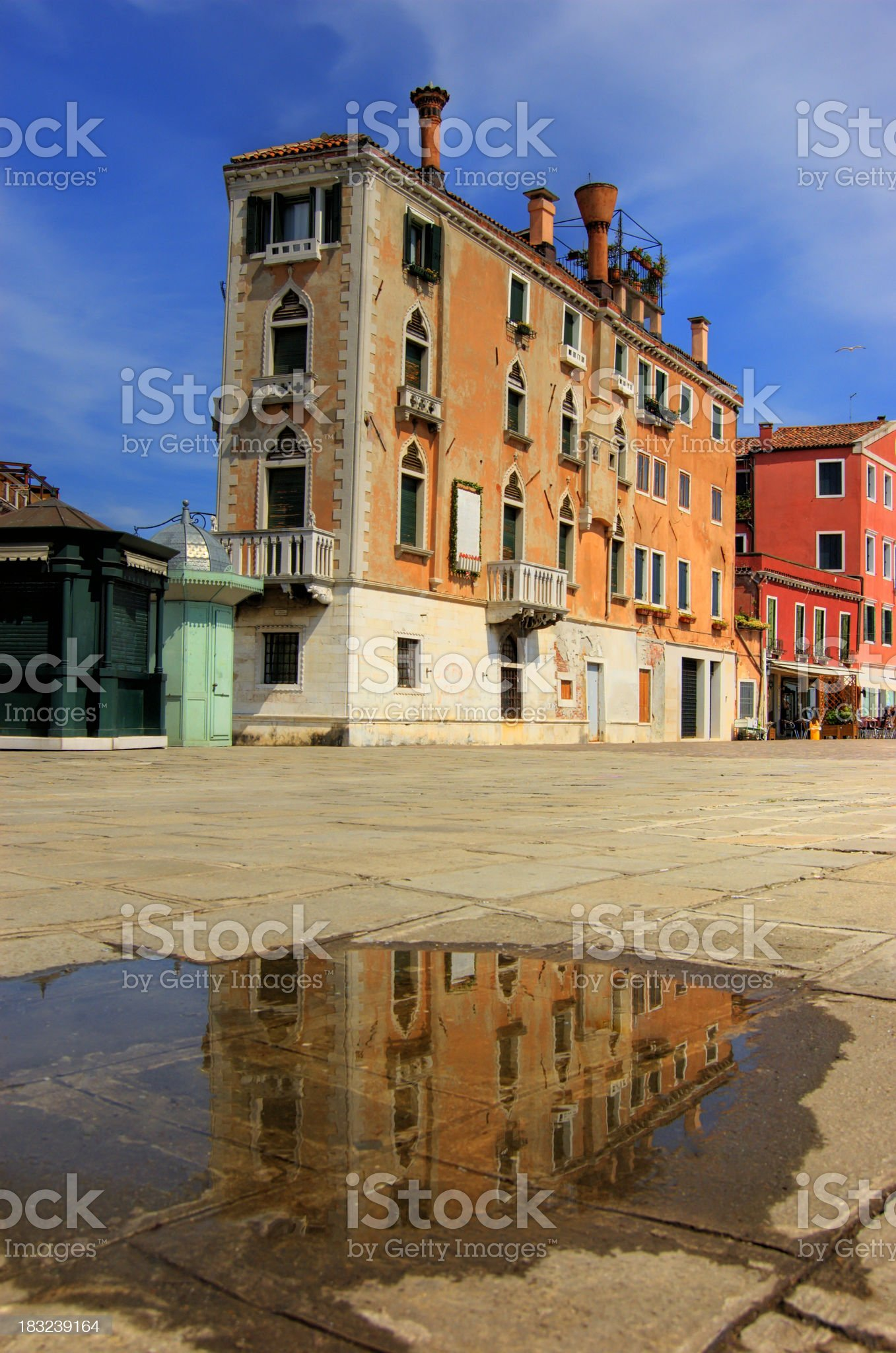 Houses Reflection In Puddle, Venice royalty-free stock photo