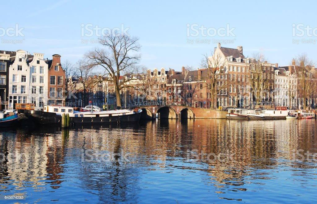 Houses Reflections on the Amstel River stock photo