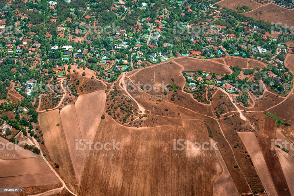 Houses seen from above - Stellite Aerial view stock photo