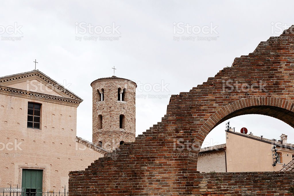 houses, walls and towers in Ravenna royalty-free stock photo