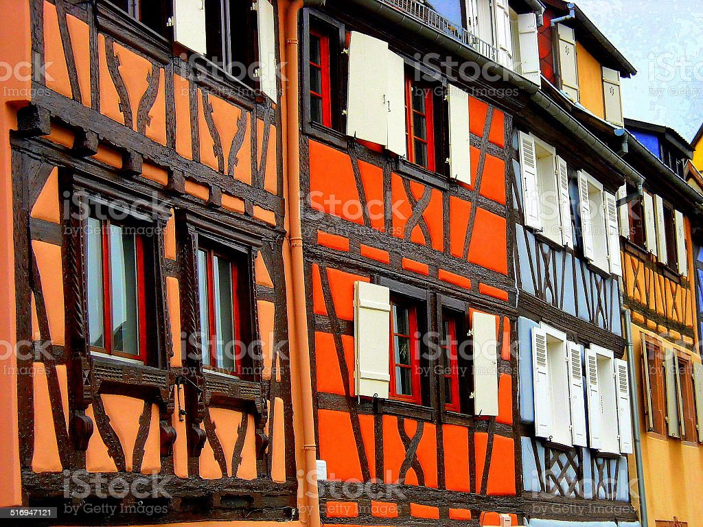 houses walls colours france wood stock photo