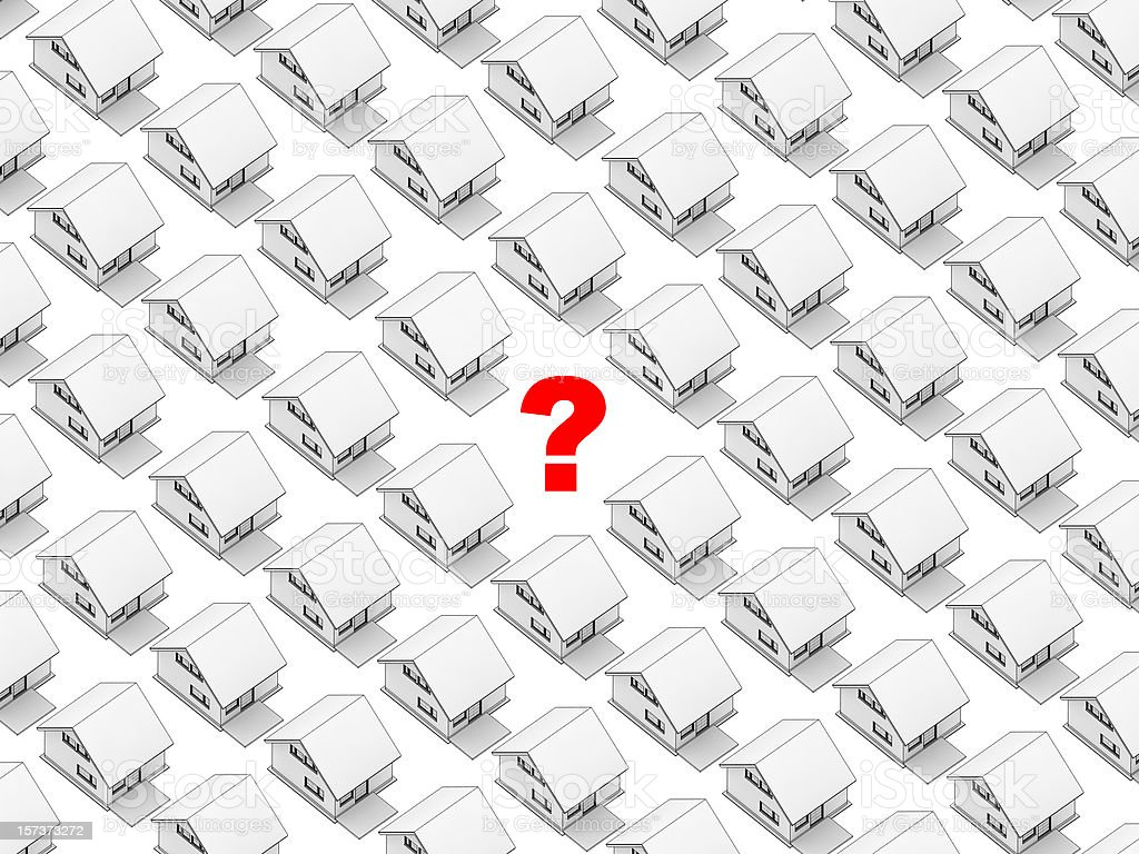 Houses with a question mark stock photo