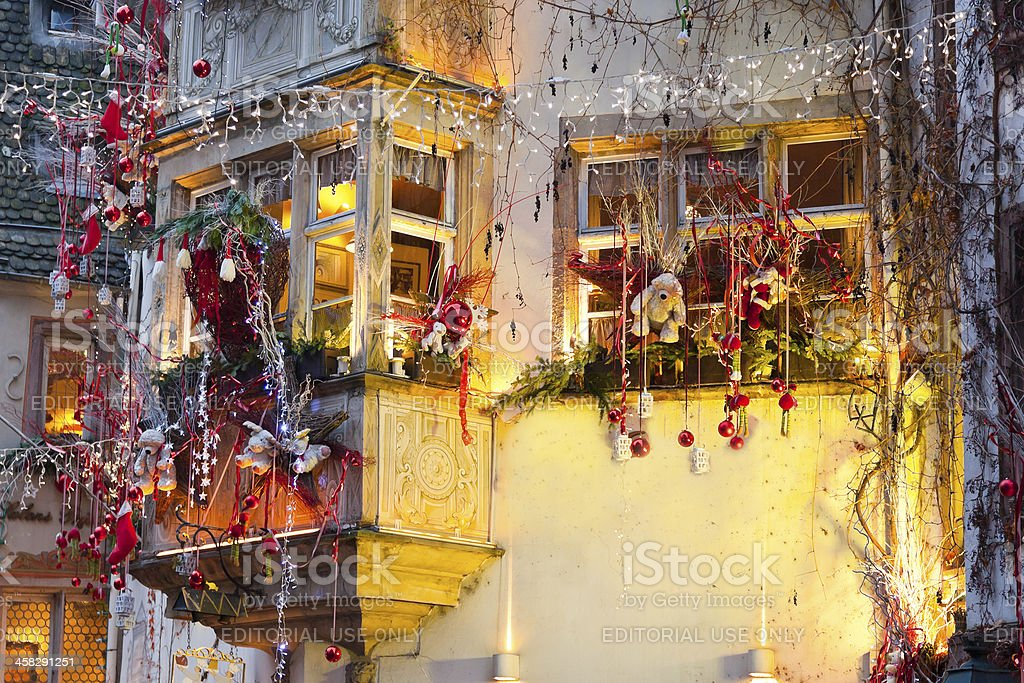 houses with christmas decoration at night royalty-free stock photo