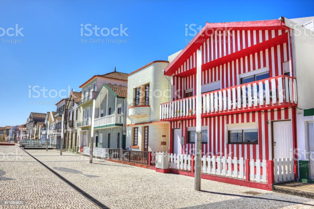 Houses with colorful stripes in Costa Nova, Aveiro, Portugal stock photo