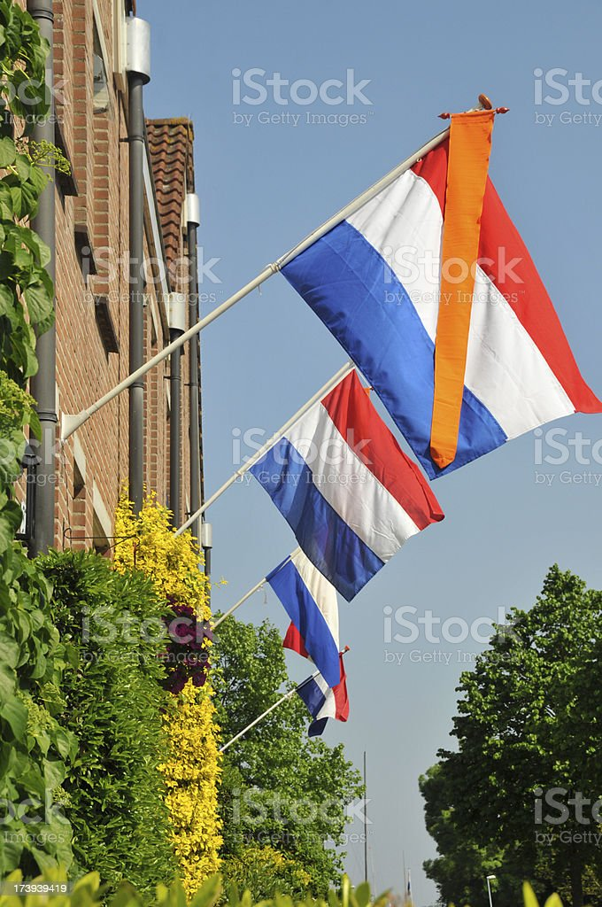 Houses with Dutch flags and orange vanes (pennants)outdoors stock photo