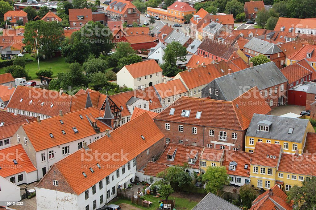 Houses with Red Tile Roof in Birdseye Perspective stock photo
