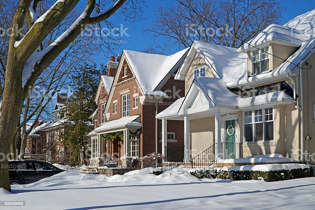 houses with snow stock photo