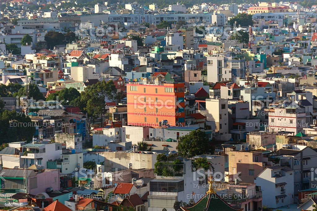 Houses with typical architecture in Ho Chi Minh City stock photo