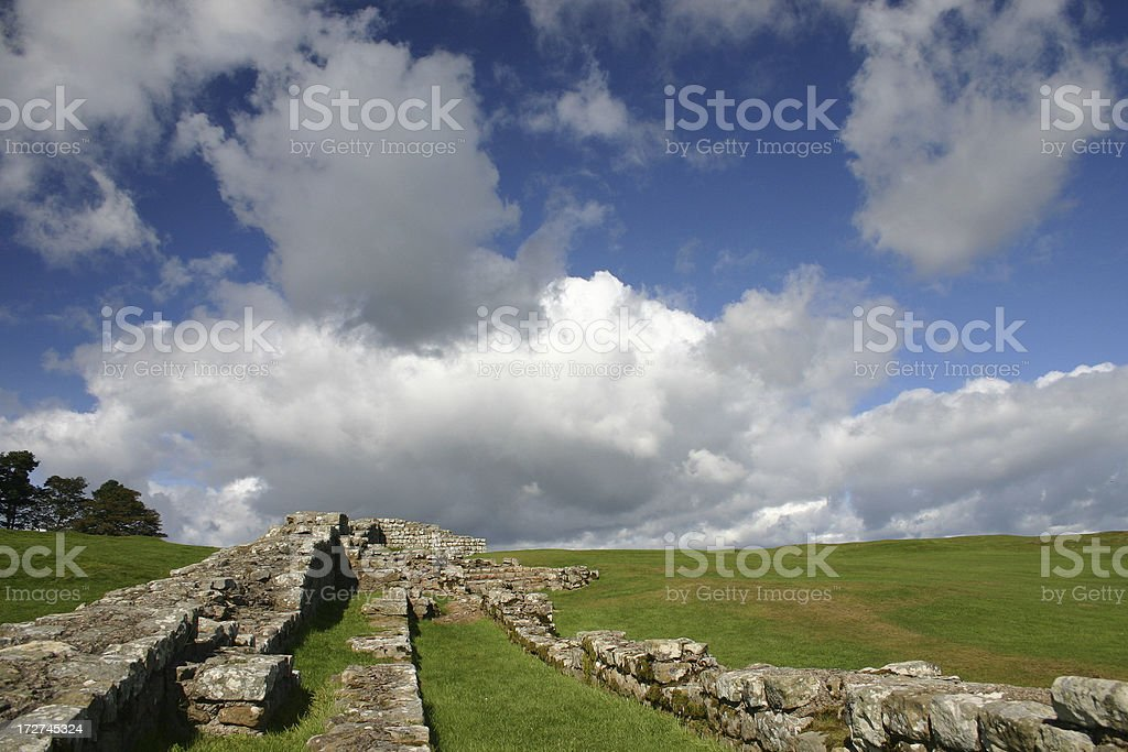 Housesteads Fort, Barrack Walls - Horizontal royalty-free stock photo