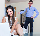 housewife addicted to internet and husband coming home