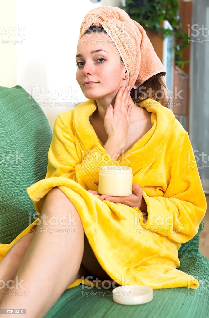 Housewife after bath stock photo