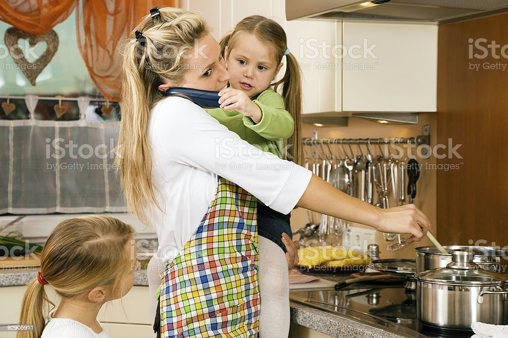 Housewife and children stock photo