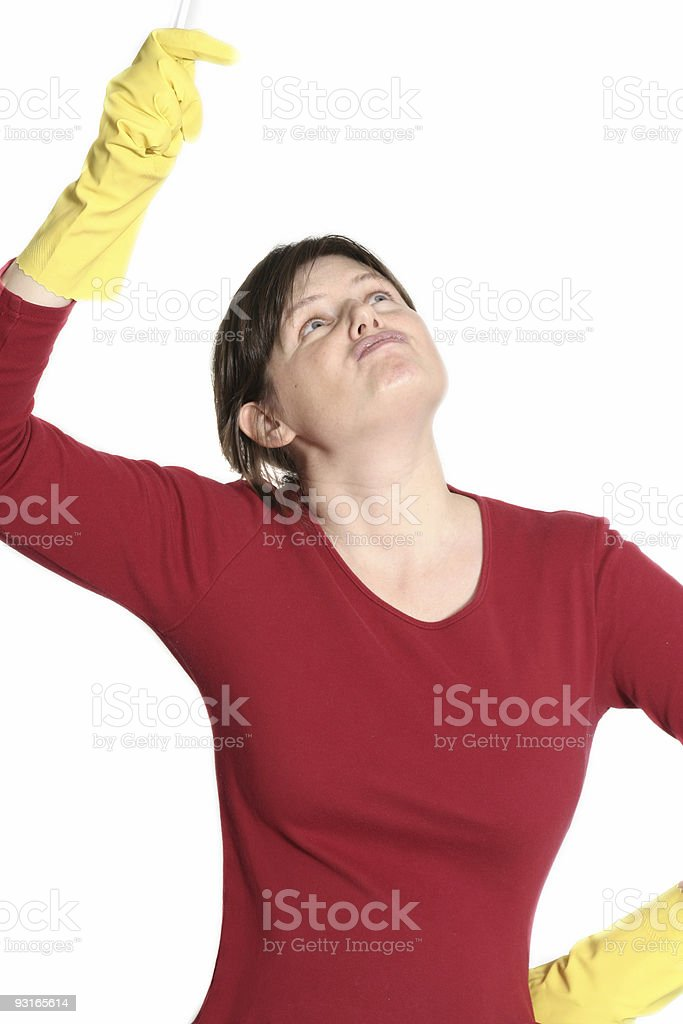 housewife cleaning stock photo