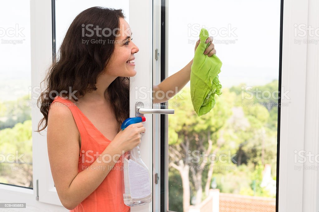 Housewife cleaning windows stock photo