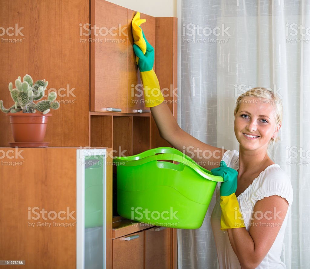 housewife doing clean-up at home stock photo