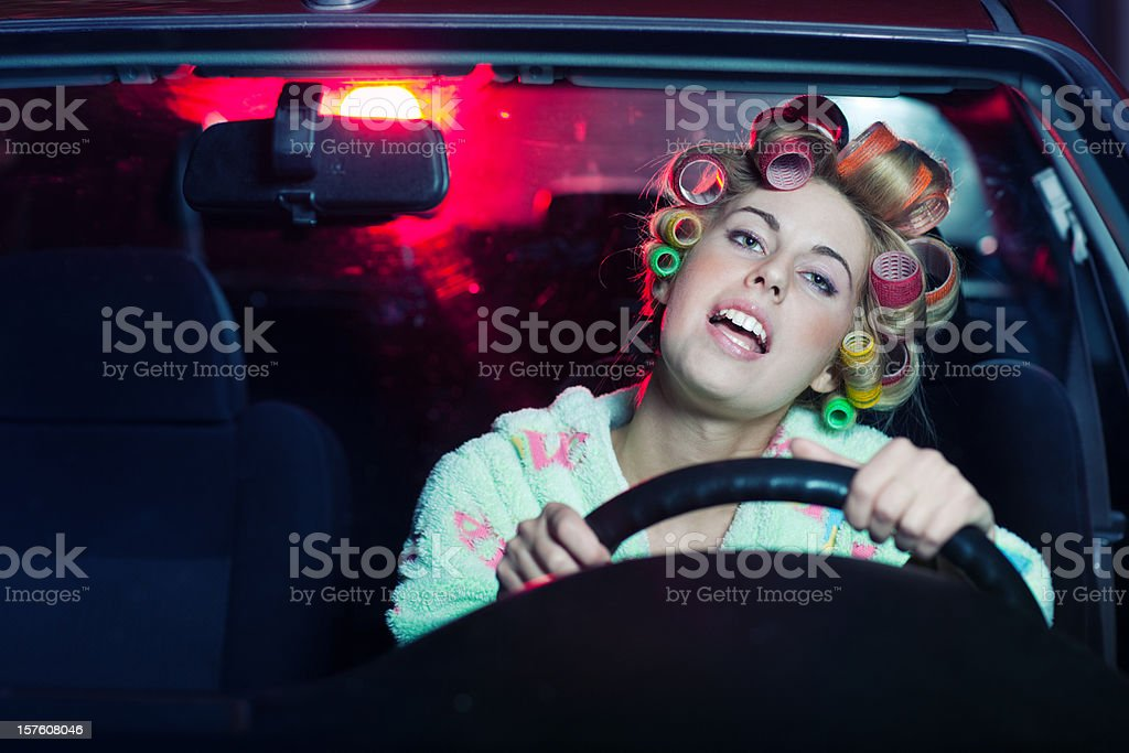Housewife Driving a Car stock photo