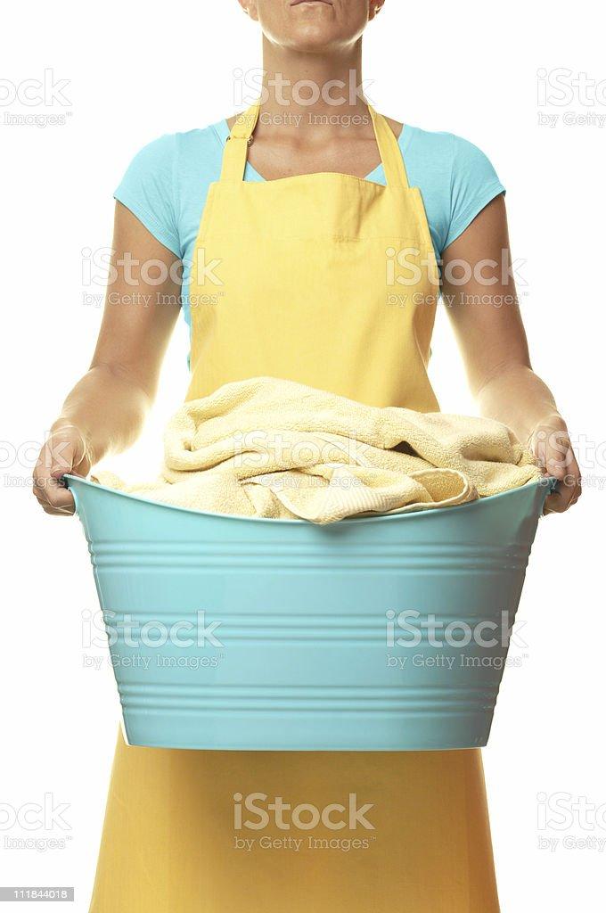 Housewife Maid Holding Laundry Basket Isolated on White Background royalty-free stock photo
