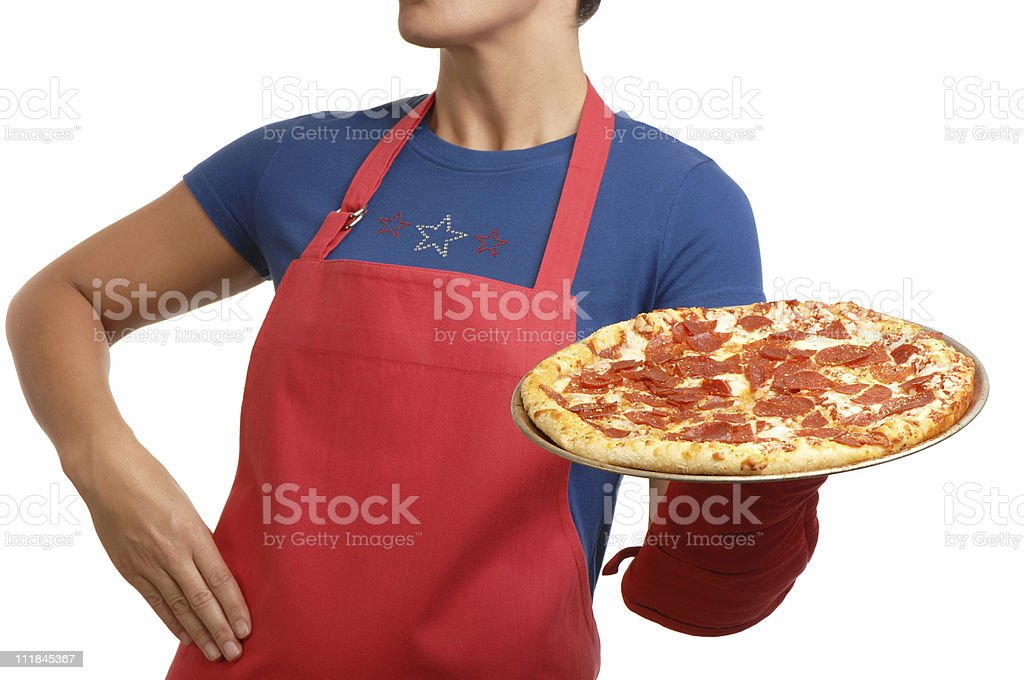 Housewife Pizza Chef on White stock photo