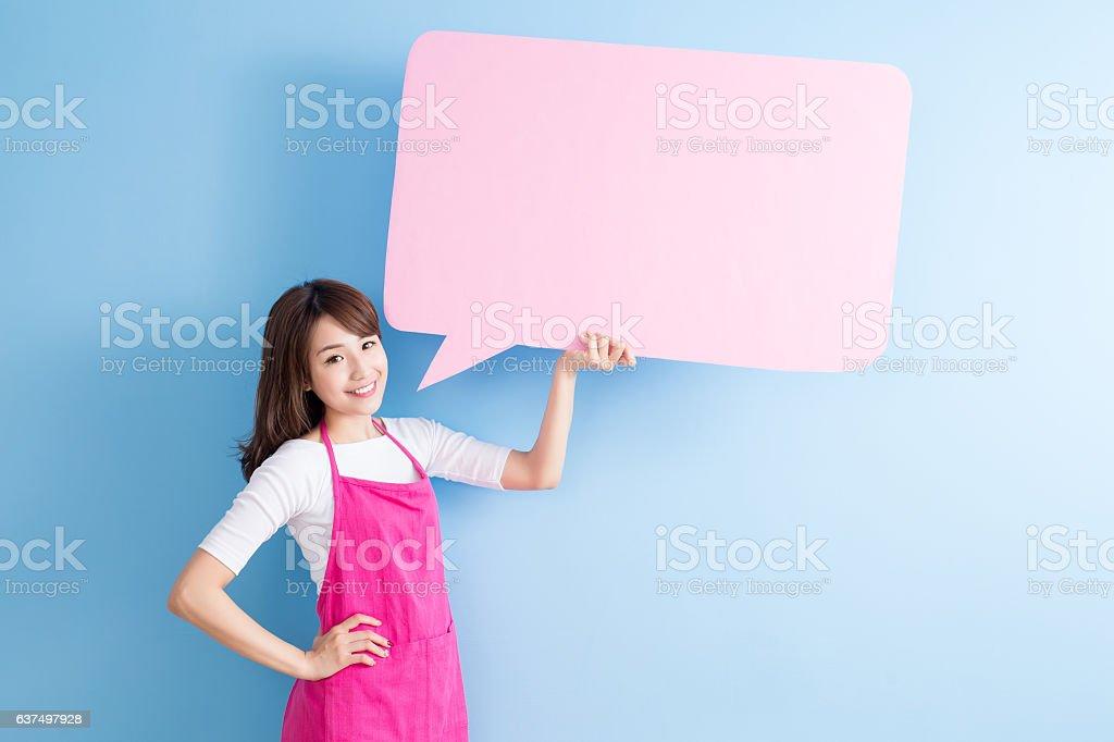 housewife take speech bubble billboard stock photo