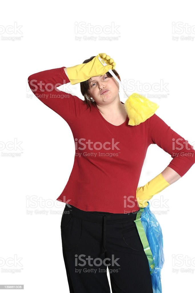 housewife tired stock photo