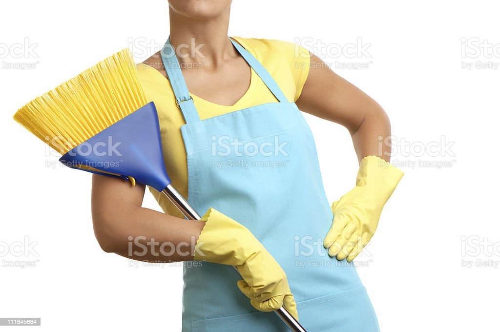 Housewife with Broom Isolated on White Background stock photo