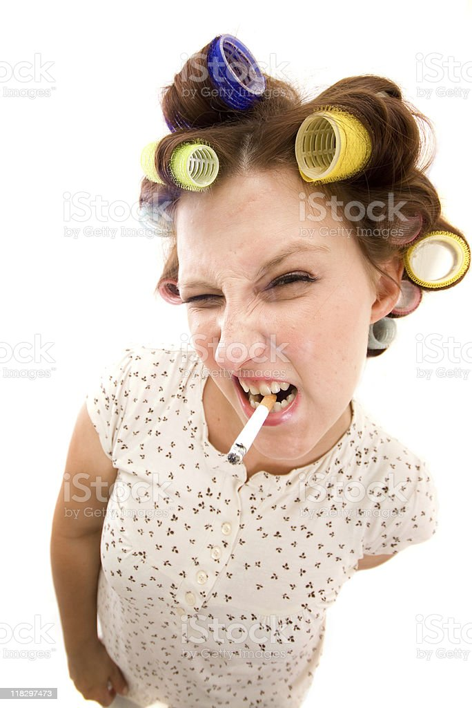 Housewife with cigarette royalty-free stock photo