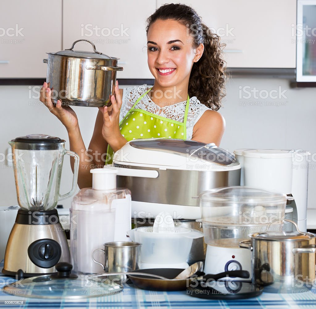 Kitchen Appliances On Credit Housewife With Kitchen Appliances Stock Photo 500620628 Istock