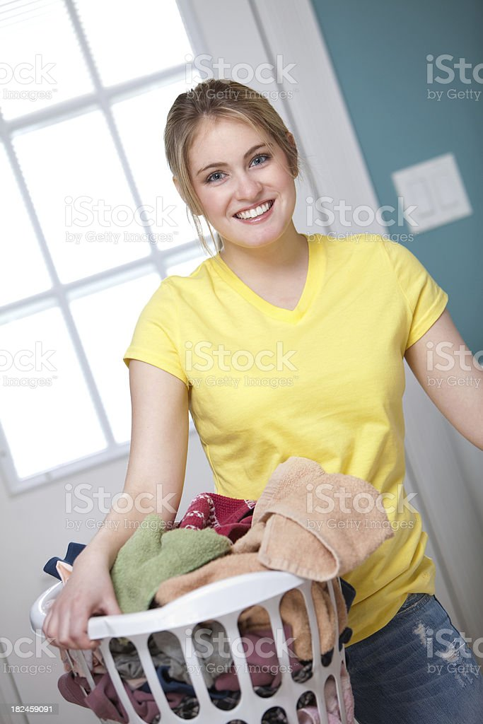 Housework: Doing Laundry royalty-free stock photo