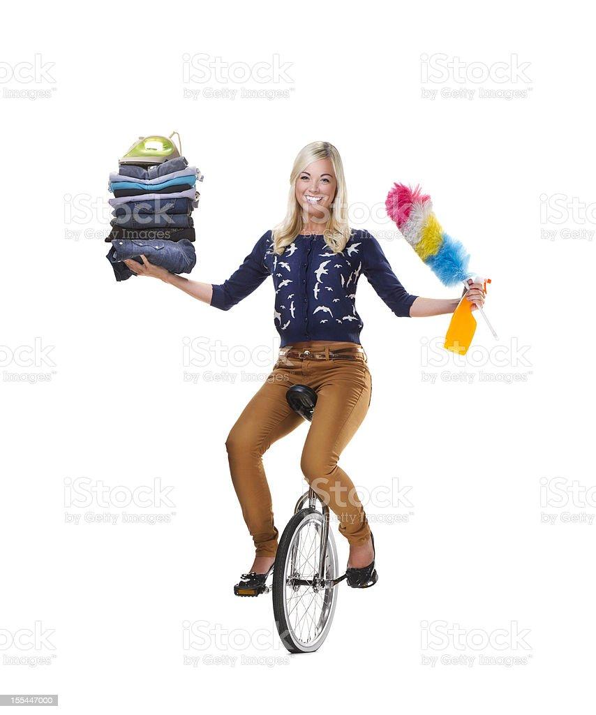 housework multi tasker stock photo