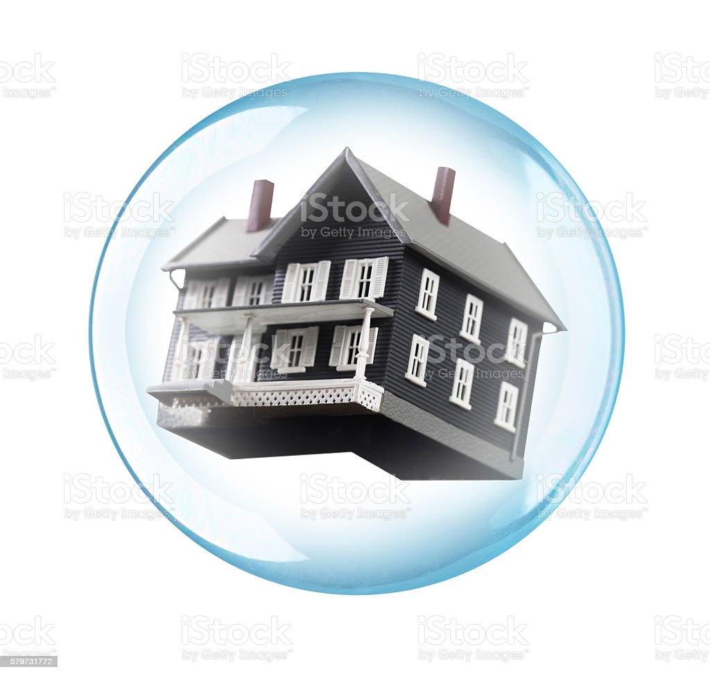 Housing bubble financial concept stock photo