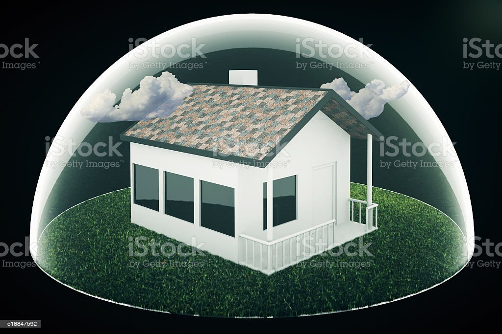 Housing bubble on black stock photo