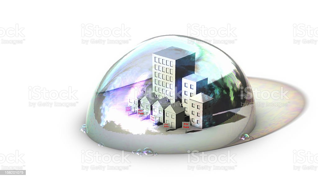 housing bubble on surface stock photo
