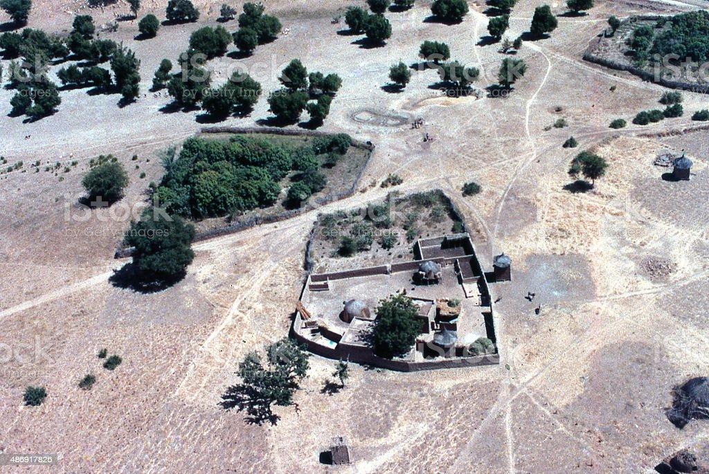 housing compound gardens and fields Sahel Burkina Faso West Africa stock photo