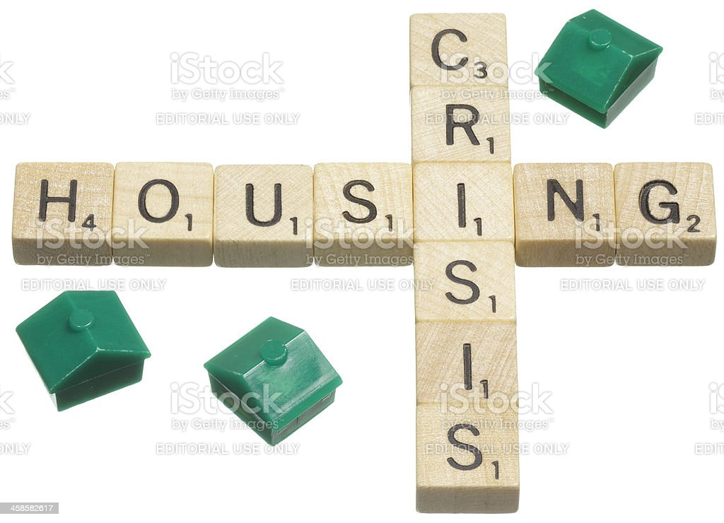 Housing crisis Scrabble tile words royalty-free stock photo
